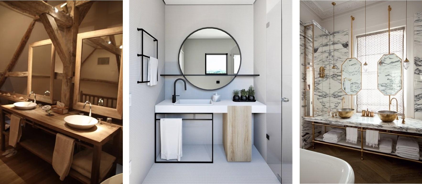 Les miroirs dans une salle de bain