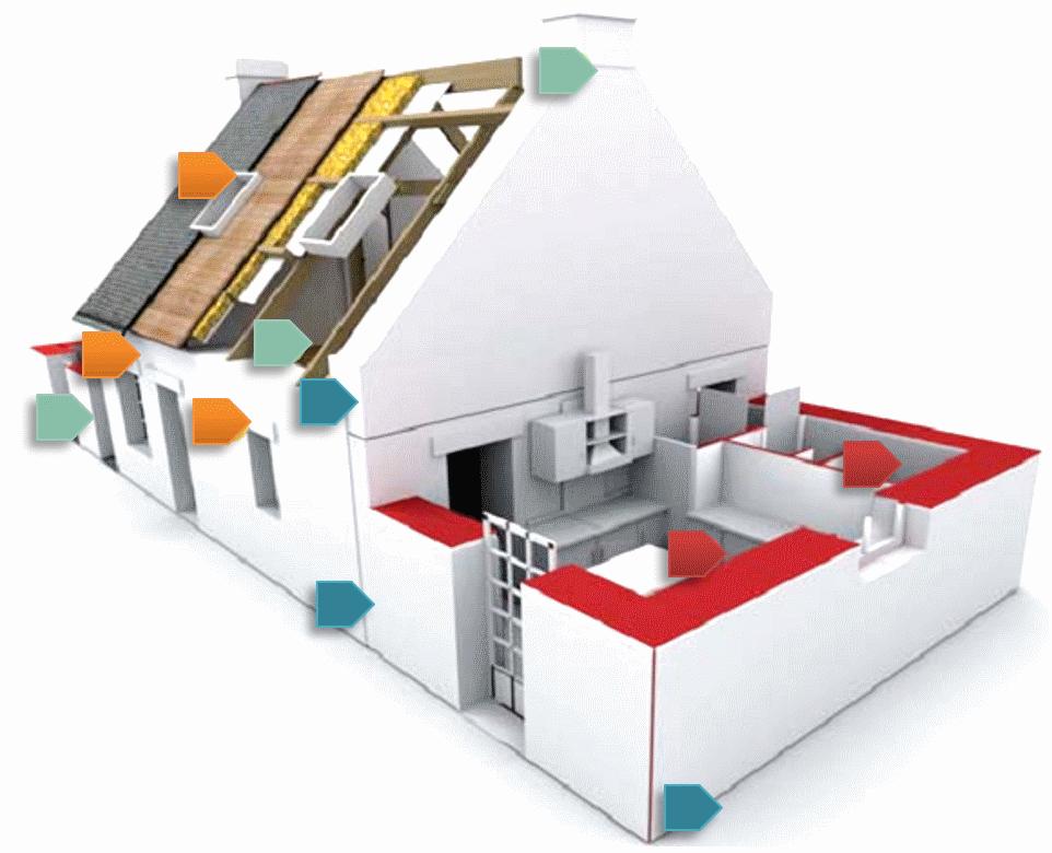 Schéma des principales sources d'inflitration d'air dans une maison
