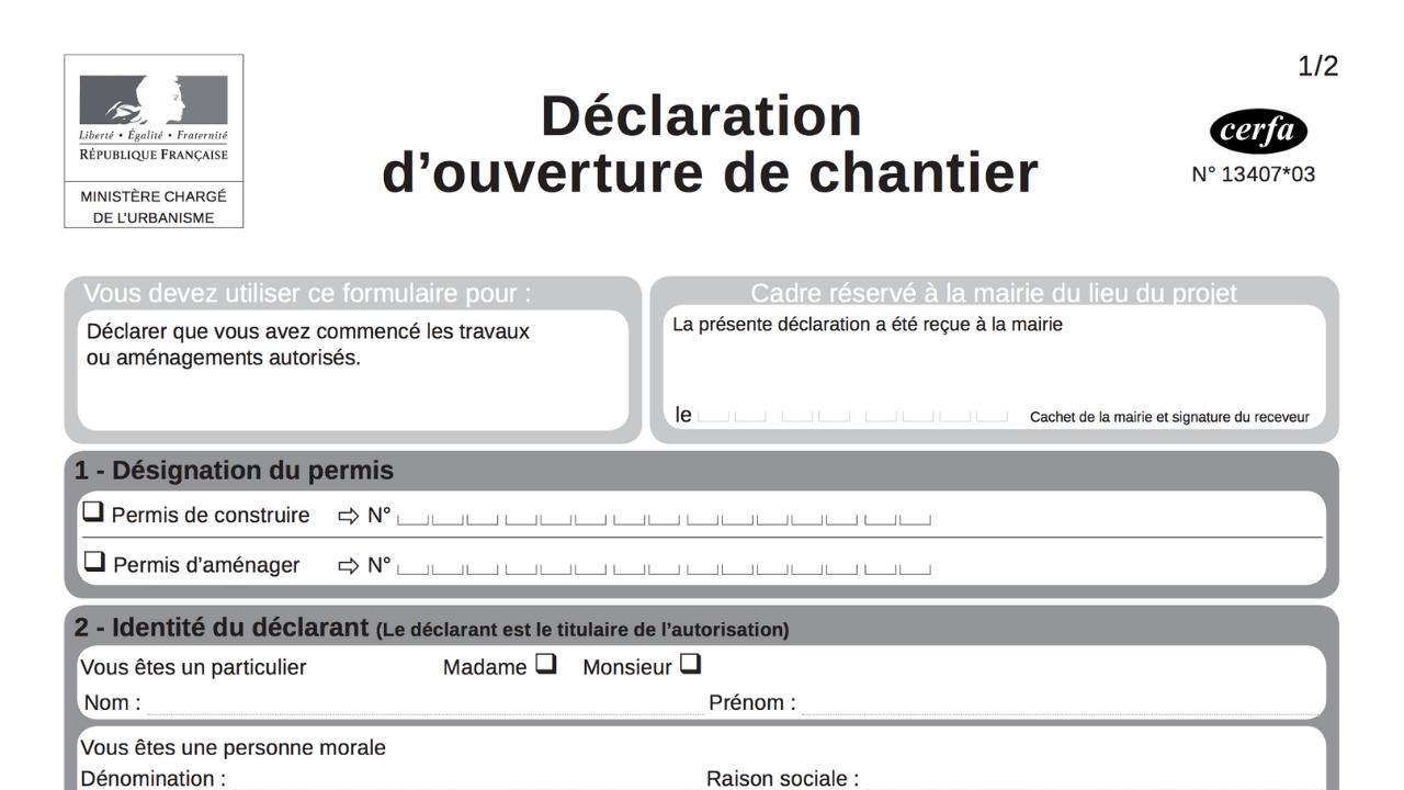 Le formulaire de déclaration d'ouverture de chantier