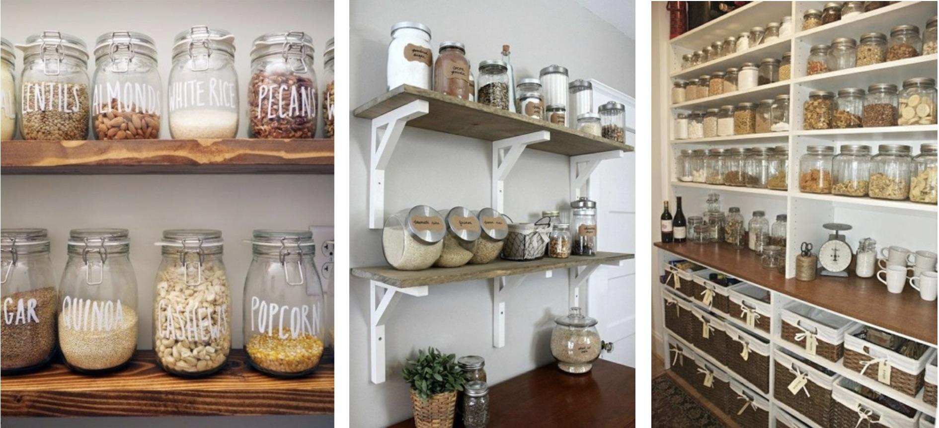 Les bocaux en verre dans une cuisine