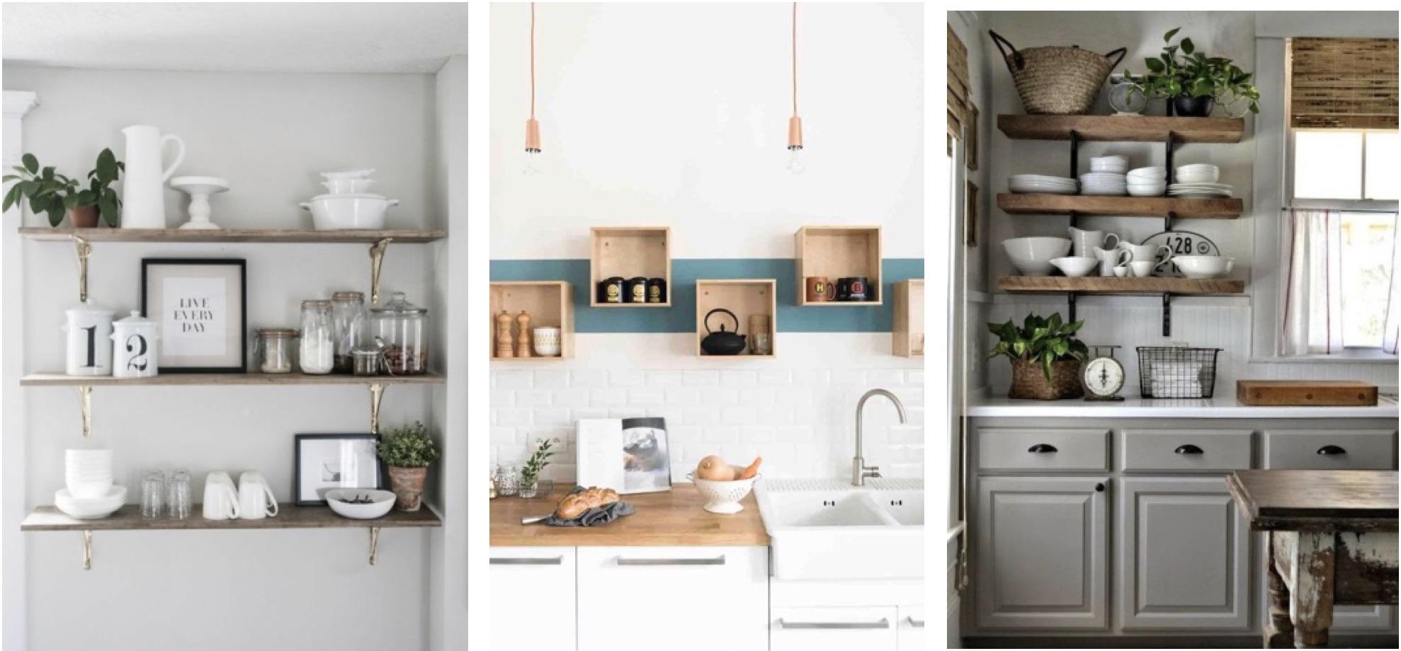 Les étagères en bois dans une cuisine