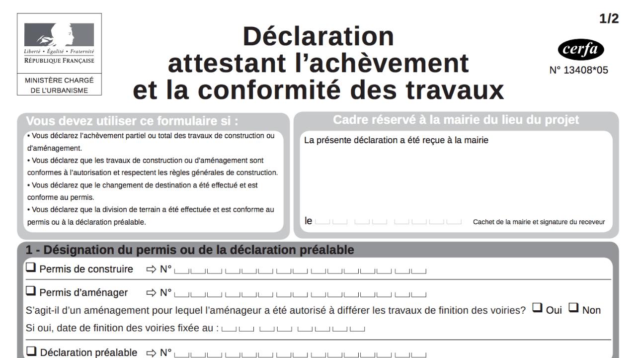 Le Cerfa, formulaire de déclaration d'achèvement de travaux
